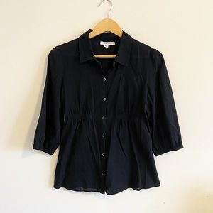 Calvin Klein button up black blouse with rouching